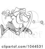 Royalty Free RF Clip Art Illustration Of A Cartoon Black And White Outline Design Of A Mrs Claus Playing Tennis by toonaday