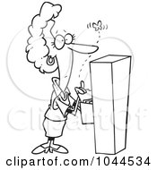 Royalty Free RF Clip Art Illustration Of A Cartoon Black And White Outline Design Of A Businesswoman Watching A Moth Emerge From A Filing Cabinet