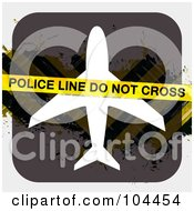 Royalty Free RF Clipart Illustration Of Police Tape Over An Airplane Sign With Hazard Stripes by Arena Creative
