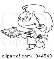 Royalty Free RF Clip Art Illustration Of A Cartoon Black And White Outline Design Of A Girl Baking Cookies by toonaday