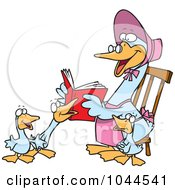 Royalty Free RF Clip Art Illustration Of A Cartoon Mother Goose Reading To Goslings