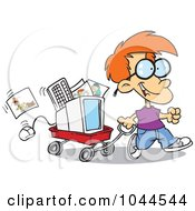 Royalty Free RF Clip Art Illustration Of A Cartoon Geeky Boy Moving His Computer In A Wagon by toonaday