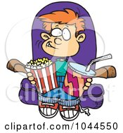 Royalty Free RF Clip Art Illustration Of A Cartoon Boy With Movie Snacks