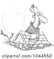Royalty Free RF Clip Art Illustration Of A Cartoon Black And White Outline Design Of A Flood Survivor Sittin On His Roof