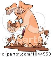 Royalty Free RF Clip Art Illustration Of A Cartoon Pig Playing In Mud