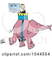 Royalty Free RF Clip Art Illustration Of A Cartoon Man Carrying A Were Moving Sign On An Elephant by toonaday
