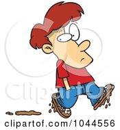 Cartoon Boy Leaving Muddy Footprints