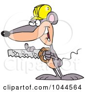 Royalty Free RF Clip Art Illustration Of A Cartoon Mouse Holding A Saw by toonaday