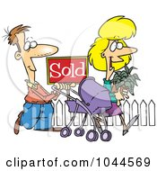 Royalty Free RF Clip Art Illustration Of Cartoon Welcoming Neighbors By A Sold House by toonaday