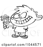 Cartoon Black And White Outline Design Of A Sweet Boy Giving A Daisy