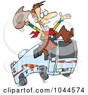 Cartoon Cowboy Leaping By A Motorhome