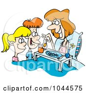 Royalty Free RF Clip Art Illustration Of Cartoon Children Serving Their Mom Breakfast In Bed by toonaday