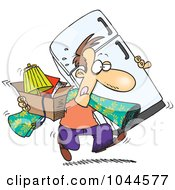 Royalty Free RF Clip Art Illustration Of A Cartoon Man Moving by toonaday