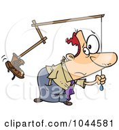 Royalty Free RF Clip Art Illustration Of A Cartoon Businessman Holding A Boot On A Stick by toonaday
