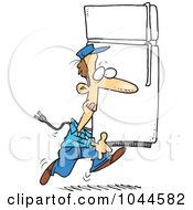Royalty Free RF Clip Art Illustration Of A Cartoon Mover Carrying A Fridge by toonaday