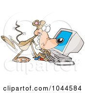 Royalty Free RF Clip Art Illustration Of A Cartoon Mouse Using A Computer by toonaday