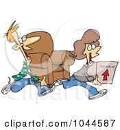Royalty Free RF Clip Art Illustration Of A Cartoon Couple Moving by toonaday