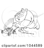 Royalty Free RF Clip Art Illustration Of A Cartoon Black And White Outline Design Of A Bear Mowing His Lawn by toonaday