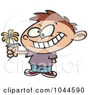 Royalty Free RF Clip Art Illustration Of A Cartoon Sweet Boy Giving A Daisy