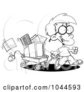 Royalty Free RF Clip Art Illustration Of A Cartoon Black And White Outline Design Of A Geeky Boy Moving His Computer In A Wagon by toonaday
