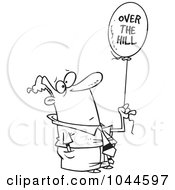 Royalty Free RF Clip Art Illustration Of A Cartoon Black And White Outline Design Of A Man Holding An Over The Hill Balloon