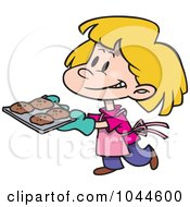 Royalty Free RF Clip Art Illustration Of A Cartoon Girl Baking Cookies by toonaday