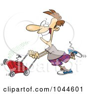 Royalty Free RF Clip Art Illustration Of A Cartoon Man Mowing His Lawn by toonaday
