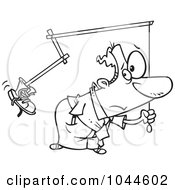 Royalty Free RF Clip Art Illustration Of A Cartoon Black And White Outline Design Of A Businessman Holding A Boot On A Stick