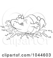 Royalty Free RF Clip Art Illustration Of A Cartoon Black And White Outline Design Of A Fat Man Doing A Belly Flop