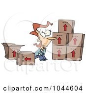 Royalty Free RF Clip Art Illustration Of A Cartoon Sad Woman Sitting By Moving Boxes by toonaday