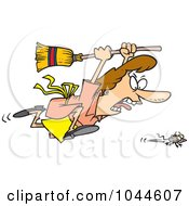 Royalty Free RF Clip Art Illustration Of A Cartoon Woman Chasing A Mouse