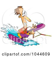 Royalty Free RF Clip Art Illustration Of A Cartoon Clumsy Man Water Skiing by toonaday