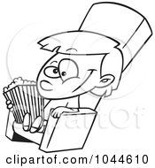 Royalty Free RF Clip Art Illustration Of A Cartoon Black And White Outline Design Of A Girl With Movie Popcorn