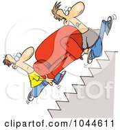 Royalty Free RF Clip Art Illustration Of Cartoon Movers Carrying A Sofa Up Stairs by toonaday