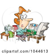 Royalty Free RF Clip Art Illustration Of A Cartoon Woman Sewing And Working At The Same Time