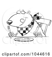 Royalty Free RF Clip Art Illustration Of A Cartoon Black And White Outline Design Of A Hungry Muskrat At A Table