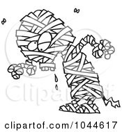 Royalty Free RF Clip Art Illustration Of A Cartoon Black And White Outline Design Of A Creepy Mummy by toonaday