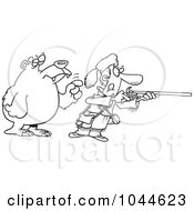 Royalty Free RF Clip Art Illustration Of A Cartoon Black And White Outline Design Of A Bear Tapping A Hunter On The Shoulder by toonaday