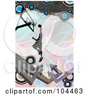 Royalty Free RF Clipart Illustration Of A Basketball Player Leaping Towards A Hoop On Pastels With Arrows And Circles by Arena Creative