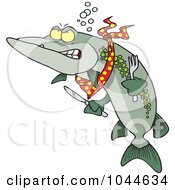 Royalty Free RF Clip Art Illustration Of A Cartoon Hungry Muskie Fish