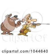 Royalty Free RF Clip Art Illustration Of A Cartoon Bear Tapping A Hunter On The Shoulder by toonaday