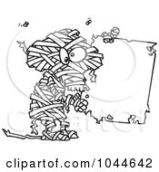 Cartoon Black And White Outline Design Of A Creepy Mummy Holding A Blank Sign