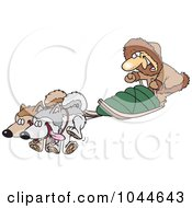 Royalty Free RF Clip Art Illustration Of A Cartoon Man With Sled Dogs by toonaday