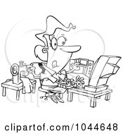 Royalty Free RF Clip Art Illustration Of A Cartoon Black And White Outline Design Of A Woman Sewing And Working At The Same Time by toonaday
