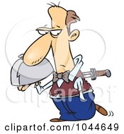 Royalty Free RF Clip Art Illustration Of A Cartoon Knife Through A Waiters Back by toonaday