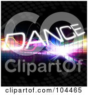 Royalty Free RF Clipart Illustration Of A Colorful Equalizer With The Word Dance On Black by Arena Creative