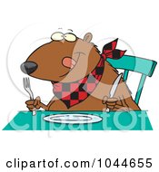 Royalty Free RF Clip Art Illustration Of A Cartoon Hungry Muskrat At A Table by toonaday