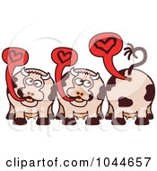 Royalty Free RF Clip Art Illustration Of Romantic Cows Talking About Love by Zooco