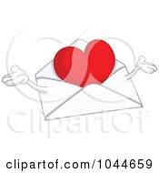 Royalty Free RF Clip Art Illustration Of A Love Letter Character With Open Arms