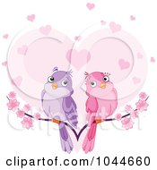 Pair Of Doves On A Branch Over A Heart With Blossoms